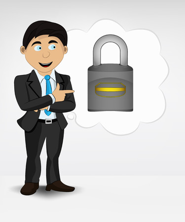 access point: padlock in bubble idea concept of man in suit vector illustration Illustration