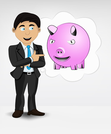 happy pig in bubble idea concept of man in suit vector illustration Vector