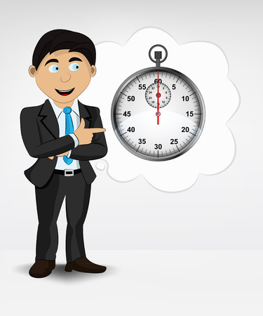 timescale: stopwatch in bubble idea concept of man in suit vector illustration Illustration