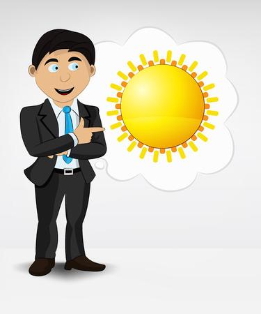 summer sun in bubble idea concept of man in suit vector illustration Vector