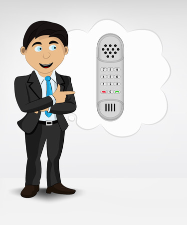 telephone in bubble idea concept of man in suit vector illustration Vector