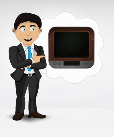 television in bubble idea concept of man in suit vector illustration Vector