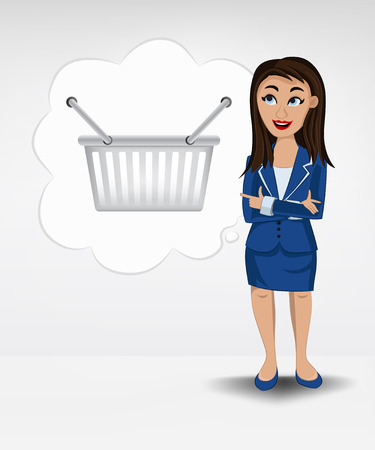 purchasing manager: shopping basket in bubble idea concept of woman in suit vector illustration