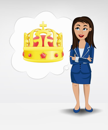 royal crown in bubble idea concept of woman in suit vector illustration Vector