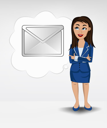 email message in bubble idea concept of woman in suit vector illustration