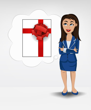 gift box in bubble idea concept of woman in suit vector illustration Vector
