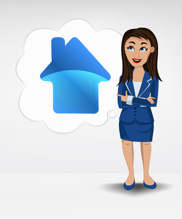 house icon in bubble idea concept of woman in suit vector illustration Vector