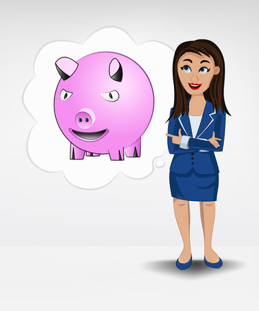 happy pig in bubble idea concept of woman in suit vector illustration Vector