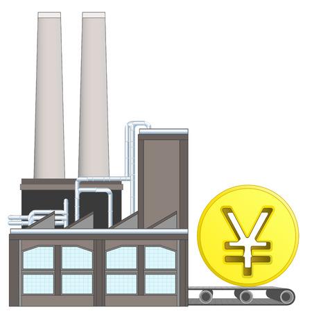 yuan: Yuan coin on factory transport belt industry concept vector illustration
