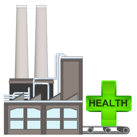 health cross on factory transport belt industry concept vector illustration Vector