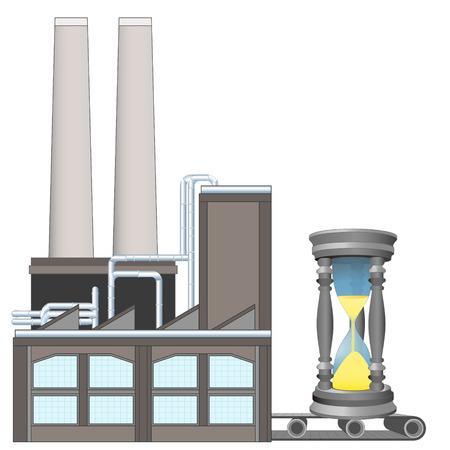 sandglass on factory transport belt industry concept vector illustration Vector