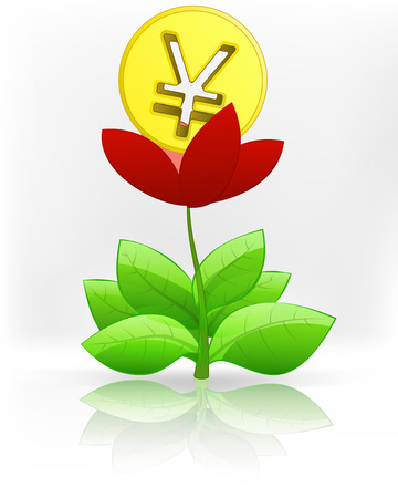 yuan: Yuan coin in red flower blossom on white vector illustration Illustration
