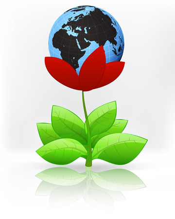 Africa world globe in red flower blossom on white vector illustration Vector