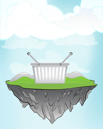 outdoor goods: shopping basket on flying island concept in sky vector illustration