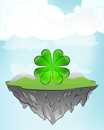 felicity: cloverleaf happiness on flying island concept in sky vector illustration