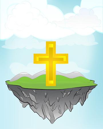 golden cross on flying island concept in sky vector illustration Vector