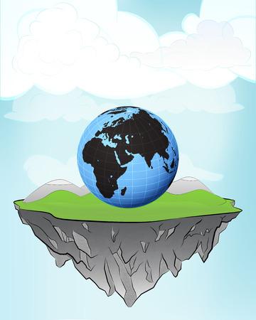 Africa world globe on flying island concept in sky vector illustration Vector