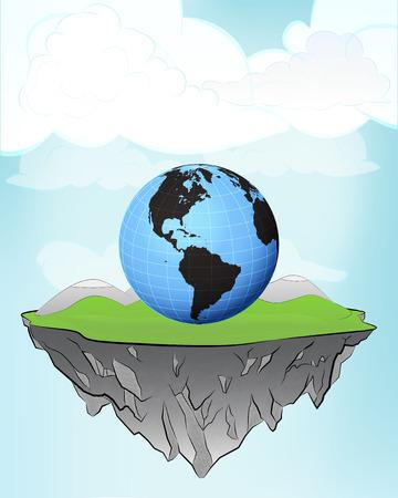 America world globe on flying island concept in sky vector illustration Vector