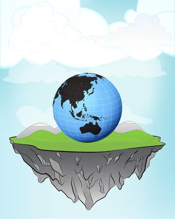 Asia world globe on flying island concept in sky vector illustration Vector