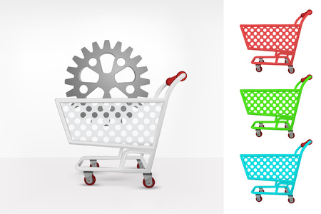 purchasing power: cogwheel in shopping cart colorful collection concept vector illustration