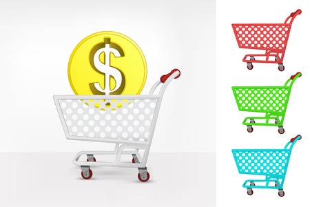 Dollar coin in shopping cart colorful collection concept vector illustration Vector