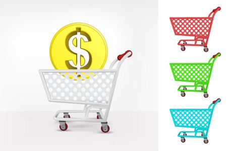 Dollar coin in shopping cart colorful collection concept vector illustration Vector