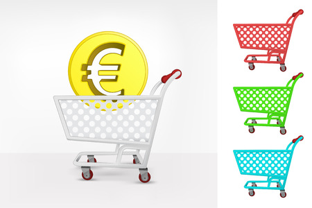 Euro coin in shopping cart colorful collection concept vector illustration Vector
