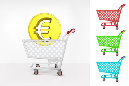 Euro coin in shopping cart colorful collection concept vector illustration Vector