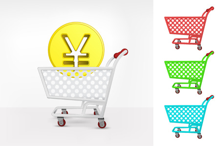 yuan: Yuan coin in shopping cart colorful collection concept vector illustration