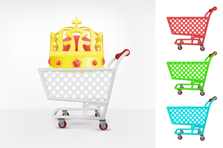 purchasing power: royal crown in shopping cart colorful collection concept vector illustration