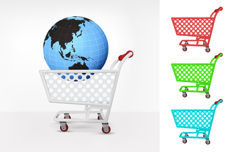 Asia world globe in shopping cart colorful collection concept vector illustration Vector