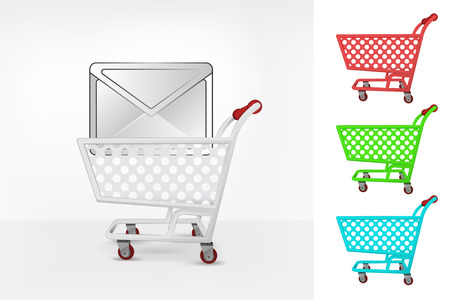 email message in shopping cart colorful collection concept vector illustration