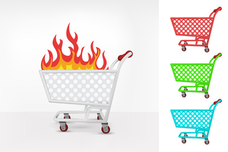 purchasing power: open fire in shopping cart colorful collection concept vector illustration