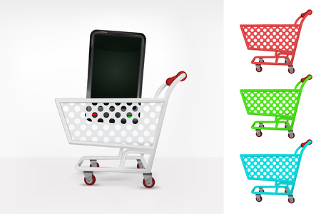 smart phone in shopping cart colorful collection concept vector illustration Vector