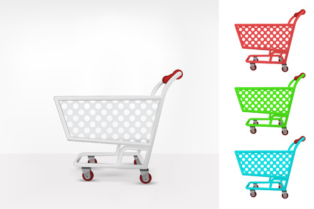 grocery store series: empty shopping cart colorful collection concept vector illustration