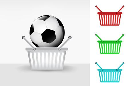 football ball in shopping basket cart colorful set concept vector Vector