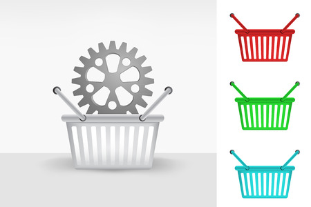 purchasing power: cogwheel in shopping basket cart colorful set concept vector