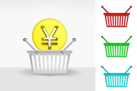 yuan: Yuan coin in shopping basket cart colorful set concept vector