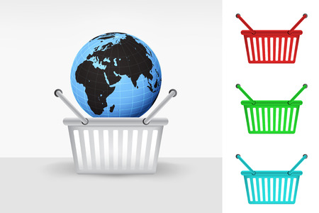 Africa world globe in shopping basket cart colorful set concept vector Vector