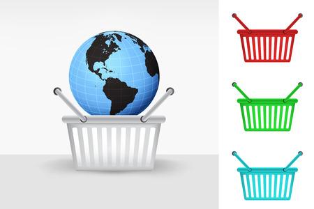 America world globe in shopping basket cart colorful set concept vector Vector