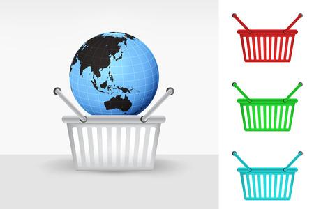 Asia world globe in shopping basket cart colorful set concept vector Vector