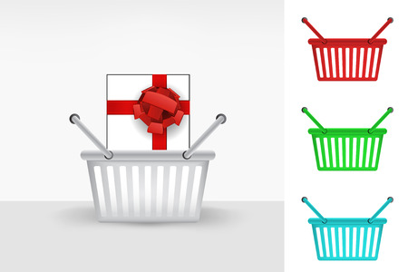gift basket: gift box in shopping basket cart colorful set concept vector