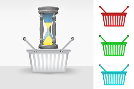 sandglass in shopping basket cart colorful set concept vector Vector