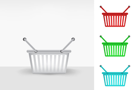 grocery store series: empty shopping basket colorful collection concept vector illustration Illustration