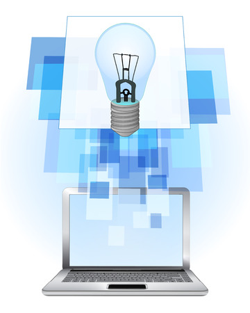 blue lightbulb in laptop internet searching frame idea vector illustration Illustration