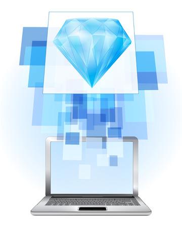 blue diamond in laptop internet searching frame idea vector illustration Vector