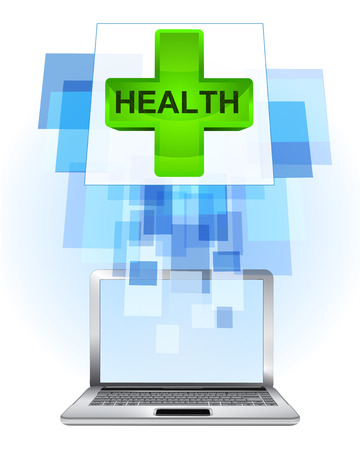 finding a cure: health cross in laptop internet searching frame idea vector illustration Illustration