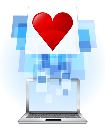 red heart in laptop internet searching frame idea vector illustration Vector