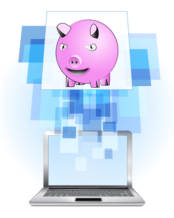 happy pig in laptop internet searching frame idea vector illustration Vector