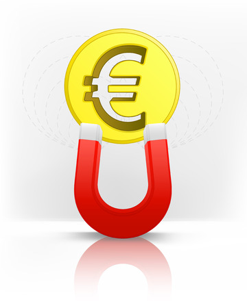 magnetic field: Euro coin attracted with magnet magnetic field vector illustration Illustration